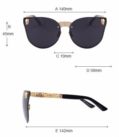 Unisex Cool Skull Sunglasses size description